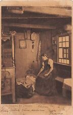 DER BAVERIN LUST U FREUDE GERMAN SEPIA POSTCARD c1904 GIRL WATCHES BABY IN CRIB