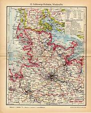 oude kaart Sleeswijk-Holstein Neder Elbe Duitsland 1936