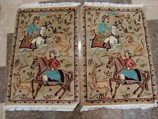 Hunting King Lion Deer Horse Hand Knotted Rug Carpet Pair (3 x 2)'