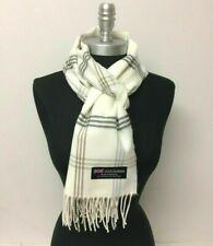 New 100% CASHMERE SCARF Scotland SOFT Wool Wrap Plaid Off White / Gray⭐️⭐️⭐️⭐️⭐
