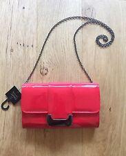 Brand New WT NEXT Red Patent Clutch Handbag Detachable Fine Shoulder Chain