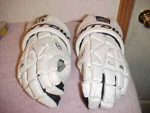 "HARROW TORRENT 13.5"" Collegiate White Leather Lacrosse Gloves Lax, Black Trim"