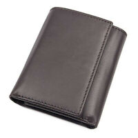 Black  RFID Blocking Premium Handcrafted Genuine Leather Men's Trifold Wallet