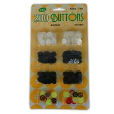 200 Assorted Plastic Buttons - Fasteners Sewing Clothing Dressmaking Accessories