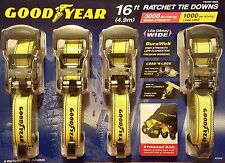 "Set of 4 Goodyear Heavy Duty 16 FT 1-1/2"" Nylon Ratchet Tie Down Straps"