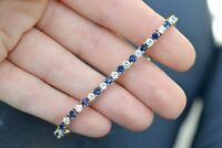 "4.50 Ct Blue Sapphire & Diamond 14k Yellow Gold Fn Tennis Bracelet 7"" Inch"