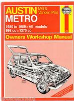 Austin Metro, MG and Vanden Plas 1980-89 All Models - Haynes Workshop Manual