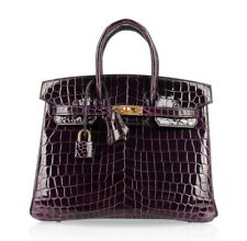 Hermes Birkin 25 Bag Aubergine Purple Crocodile Gold Hardware
