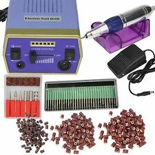 New Professional Electric Nail Art Drill Manicure Machine Glazing Bit Kit Set US