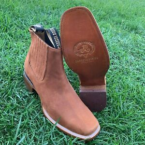 MEN'S LEATHER WESTERN STYLE COWBOY RODEO SLIP ON ANKLE-SQUARE BOOTS BROWN HONEY