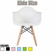 Armchair Eames Childrens Room Chair for Kids with Natural Wooden Legs - White