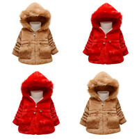 Toddler Kids Baby Girl Winter Jacket Warm Coat Thick Outwear Hooded Snowsuit