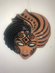 Clay Art Woman Face Mask Wall Decoration Pre Owned.