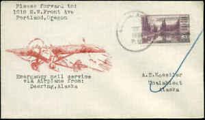 Alaska Emergency Flight Deering to Unalakleet Rte #2 1934  A.E. Koestler Cover