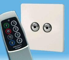 V-Pro Ir, 2 Gang Remoto/Toque Dimmer LED, control remoto de escena sin tornillos Premium Blanco Y