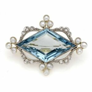 0.61ct Natural Round Diamond 14K Solid White Gold Blue Topaz Wedding Brooch pin