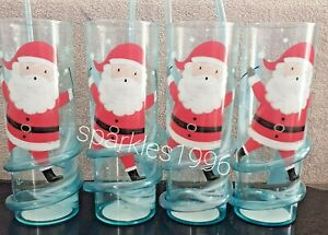 Set Of 4 Plastic Kid's Christmas Drinking Tumbler Cups With Spiral Bendy Straw..