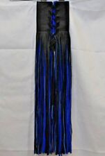 Black & Electric Blue Leather Motorcycle Grip Covers w/18in. Fringe Tassels