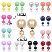 Fashion 1 Pair Women Lady's Double Sided Faux Pearl Ear Stud Earrings Jewelry