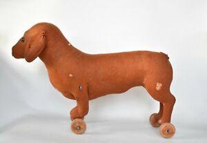 Antique German Steiff Straw Stuffed Felt Dachshund Dog on Wheels Pull Toy