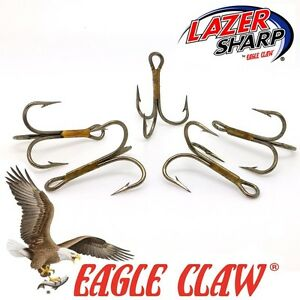 Treble Hooks Eagle Claw 974 Sizes 2 - 10  Bronze Pike Spinners Lures Flying Cs