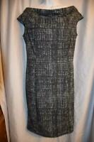 ANN TAYLOR Loft womens sz 4 Black & White PRINT - Sleeveless Knit Dress
