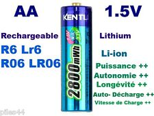 1 Batterie Rechargeable 1.5V AA Lithium ion Li-ion 2800Mwh Kentli PH5 R6 R06