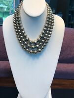 "Vintage Signed Marvella Gold Metal Pearl 3 Strand Nice Quality Necklace 18"" Long"