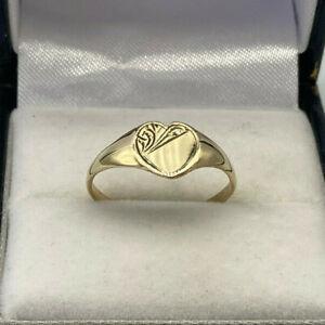 Vintage 9ct Gold Hallmarked Ladies / Childs Heart Signet Ring. Goldmine Jeweller