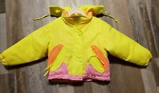 Vintage Neon Pink Yellow Obermeyer Toddler 3T Winter Puffer Jacket Super Cute