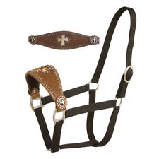 Western Black Nylon Bronc Halter with Brass Hardware&Hand Carving : Cross Concho