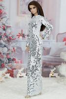 ELENPRIV Silver sequined maxi dress for Fashion Royalty FR2 dolls