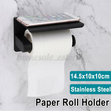 Wall Mounted Bathroom Toilet Paper Phone Holder Rack Tissue Roll Stand Black Usa