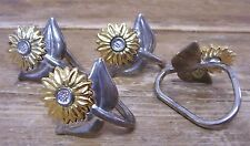 Metal Sunflower Daisy Sun Flower 4 Napkin Ring Holder Silver Gold Daisies