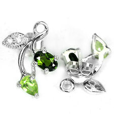 Natural CHROME DIOPSIDE, PERIDOT, & CZ STERLING 925 SILVER FLOWER EARRINGS