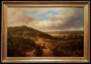 LARGE 19th CENTURY OIL ON CANVAS SHEEP PEAK DISTRICT ANTIQUE LANDSCAPE PAINTING