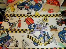The Incredible Crash Dummies Twin Flat bed Sheet / Fabric 1992 TYCO Test Vintage