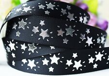 BLACK GROSGRAIN RIBBON with SILVER STARS - 1 YARD - 22mm wide - Crafts