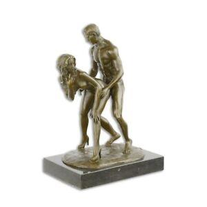 9934104 erotische Bronze Figur Skulptur Akt Liebende Paar 30x14x21cm