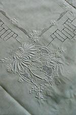 VTG Cream color Madeira Embroidery cut work Decor Accent Table Cloth 46x46