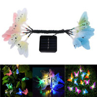 Solar Powered 12/20 LED Butterfly Fairy String Lights Garden Outdoor Waterproof