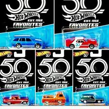 Hot Wheels 2018 50th Favorites set of 5, Datsun Chevy Volkswagen Javelin & Ford.