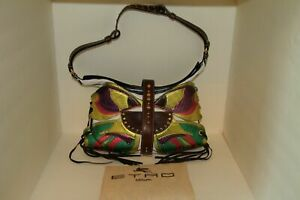 ETRO  Shoulder Bag Multi-color Butterfly Patches on White Leather (Barely Used)