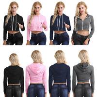 Women Long Sleeve Short Drawstring Hooded Blouse T-Shirt Sportwear Soft Crop Top
