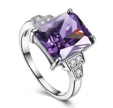 925 Sterling Silver Amethyst Purple Engagement Ring 7 Women's February Birthday