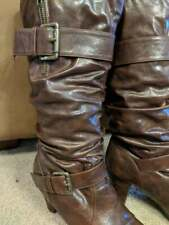 Brown Faux Leather Fashion HI Heel BOOTS SIZE 8M buckles Zippers Super Cute