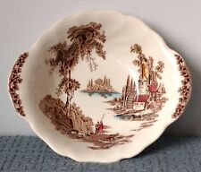 "Johnson Brothers ~ ""The Old Mill"" ~ ROUND VEGETABLE BOWL w/ HANDLES ~ Multicolor"