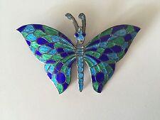 Large Butterfly  Siam Sterling Blue Green Enamel Pin / Brooch 1940's? 925