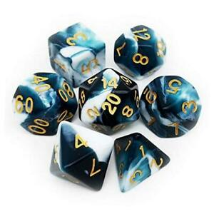 Swirl DND Dice Set 7PCS Polyhedral D&D Teal Dice for Roleplaying Teal White