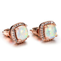 Gentle Gift Suqare Cut White Fire Opal Gems Rose Gold Plated Stud Earrings